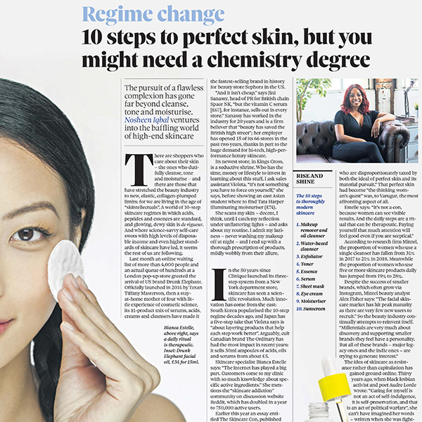 Regime Change - 10 Steps to Perfect Skin, but you might need a chemistry degree