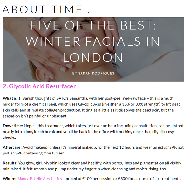 FIVE OF THE BEST: WINTER FACIALS IN LONDON